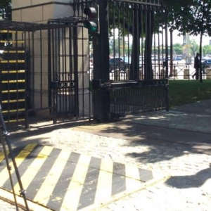 Filming inside the gates of the American Embassy in Paris