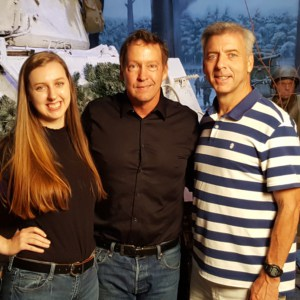 Memphis Belle star D.B. Sweeney (center) with Lights, Camera, Location executive producer Ted Rouse and wardrobe supervisor Emily Rouse